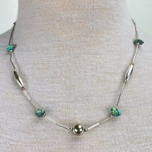 Silver Tone Turquoise Nugget Necklace